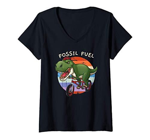 Femme Combustible fossile T Rex Cycliste Conduite de vélo Cadeau T-Shirt avec Col en V