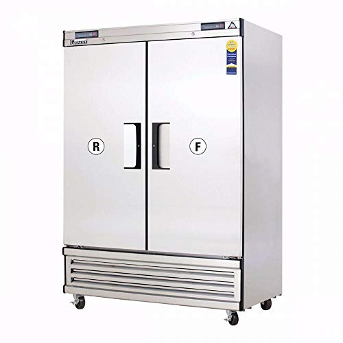 """Everest EBSRF2 49-5/8"""" Two Section Solid Door Upright Reach-In Dual Temp Refrigerator/Freezer Combo"""