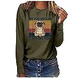 Wave166 Blusa para mujer, elegante, tops de cuello redondo, camisetas de manga larga, camisa monocolor, camiseta casual, suelta, suéter, blusa, sudadera, regalo para mujeres, Verde militar., XL