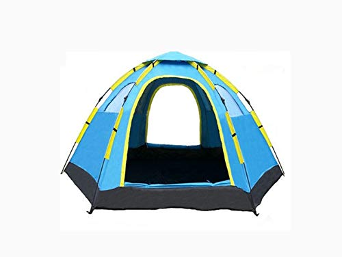 QQSA Automatic Camping Pop-Up Tent, for 5 To 8 Person Automatic Opening Hexangular Hydraulic Double Layer Tent, 100% Uv Protected Family Camping Tents with Carrying Bag.