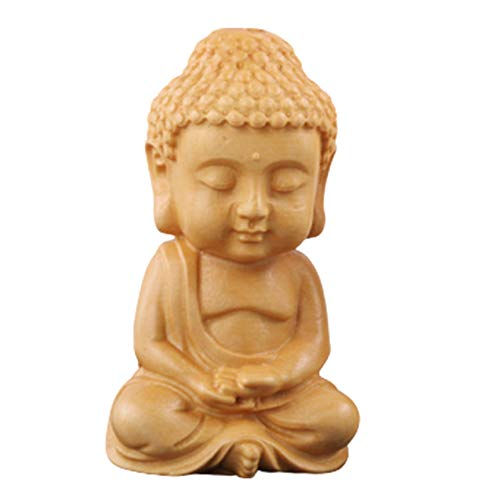 YSTJKD Buddha Figures Sculpture Buda De Madera Tallada a Mano Estatua De Buda De Meditación Pequeña Escultura De Buda Decorativo Sentado Decoración Interior del Interior del Coche En Casa 1 Pcs