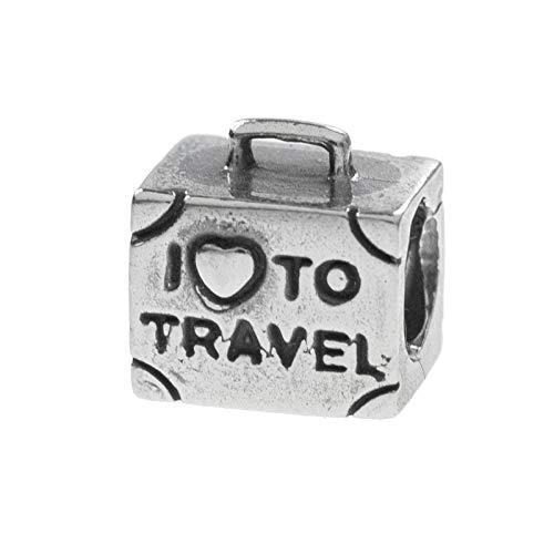 Charm I LOVE to Travel Plata de Ley compatible con Pandora
