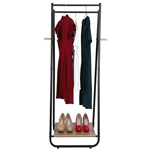 FTVOGUE Clothes Rack,Floor Coat Rack Shoe Stand Metal Garment Drying Rack Freestanding Garment Clothes Rail with Wood Storage Shelves and Hanging Rail for Bedroom Entrance Basement,53x40x150cm