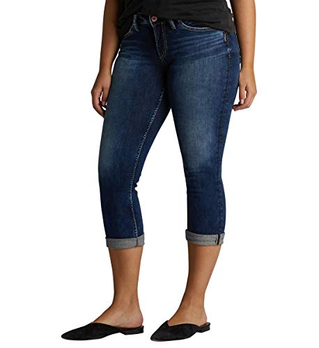 Silver Jeans Co. Damen Suki Curvy Fit Mid Rise Capri Jeans, Power Stretch Dark, 30W x 22L