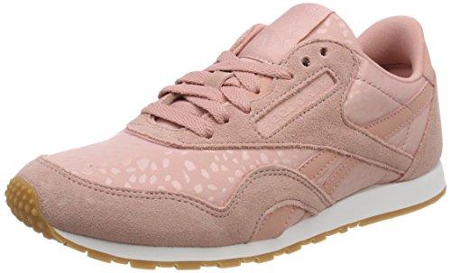 Reebok Damen Classic Nylon Slim Text Lux Sneaker, Pink (Chalk Pink/White/Gum), 41 EU