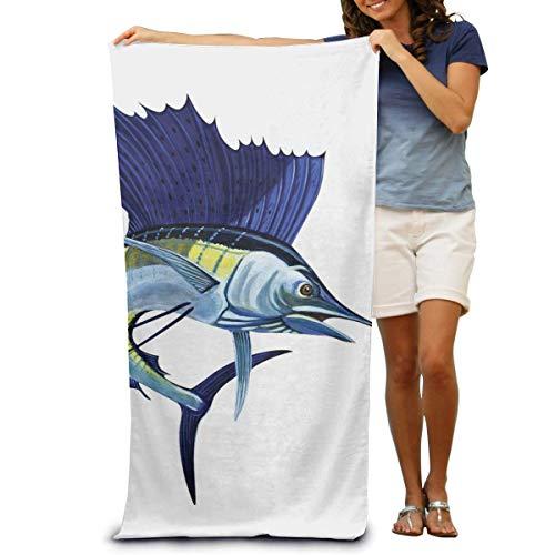 Toalla de Playa de Microfibra Wrap Blue Sailfish Toallas de SPA absorbentes Toalla de Ducha para Mujeres y Hombres