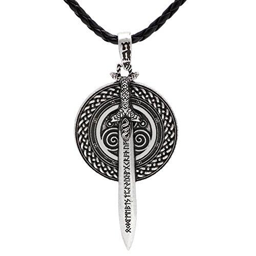 LoveInDeca - Collar con colgante de amuleto celta y espada de vikingo, doble cara
