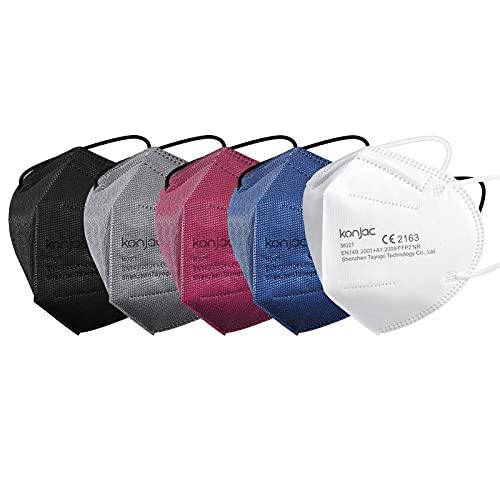 konjac FFP2 Maske 20 Stück Masken Mundschutz FFP2, 5-lagig Einwegmasken Atemschutzmaske Gesichtsmaske Einzeln Verpackt FFP2 Masken Einweg Schutzmaske für Erwachsene Staubschutzmasken-5 Farben