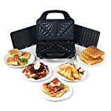 Salter EK2143 Deep Fill 3-in-1 Snack Maker with Interchangeable Waffle, Panini and Toasted Sandwich Plates | 900 W, Silver