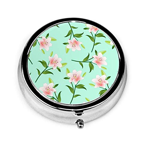 Pink Lily On Green Mint Background Round Pill Container 3 Compartment Metal Medicine Case Vitamin Organizer Holder Decorative Box for Travel Outdoors