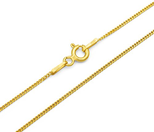 Panzerkette 925 Sterling Silber vergoldet 1,0mm breit Länge wählbar 40 45 50 55 60 cm Silberkette Gold Halskette Kette Damen Herren (50)