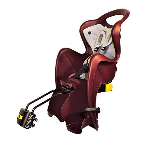 b bellelli Mr Fox 2021 - Seggiolino Posteriore per Bicicletta-Cuscino e Coprispalle in Ecopelle - per Bambini Fino a 22 kg, da 3 a 8 Anni - Si Fissa al Telaio, Reclinabile - Rosso