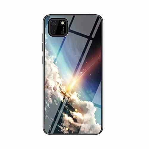 Miagon Glas Handyhülle für Huawei Y5P,Himmel Serie 9H Panzerglas Rückseite mit Weicher Silikon Rahmen Kratzresistent Bumper Hülle für Huawei Y5P,Wolke