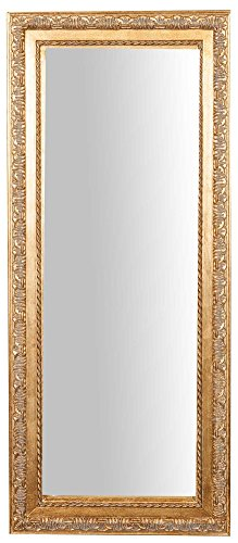 Biscottini Specchio, Specchiera rettangolare da parete, da appendere al muro orizzontale verticale, Shabby chic, trucco, bagno, cornice finitura colore oro anticato, L35xPR2xH82 cm. Stile shabby chic.