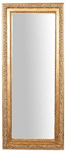 Biscottini Specchio Specchiera da Parete con Cornice Rettangolare in Legno 35x2x82 cm Finitura Oro Anticato da Appendere Verticale/Orizzontale