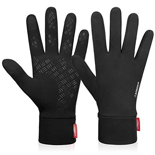 coskefy Handschuhe Winter Laufen Touchscreen Leicht Elastisch Sport Gloves Motorrad Fahrrad Herren Damen Winddicht rutschfest Camping Wandern Warm Schwarz Vorwinter Frühling Herbst (Schwarz-A, XL)