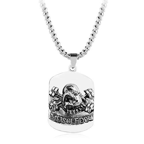 Halskette Retro Persönlichkeit dominierende Legierung Halskette Hund Anhänger Fitness Mann Langhantel Muskel Hund Schmuck