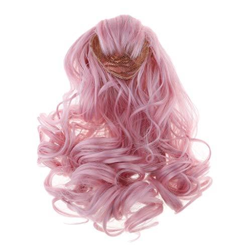 Sharplace Perruque de Poupée Cheveux Bouclés pour 60cm Dolls - Rose