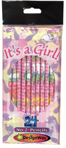 DesignWay It's a Girl 24-Pack No. 2 Pencil, Pink