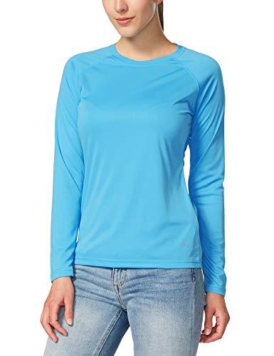 BALEAF Women's UPF 50+ Sun Protection T-Shirt SPF Long/Short Sleeve Outdoor Performance Hiking Shirt Sky-Blue Size L