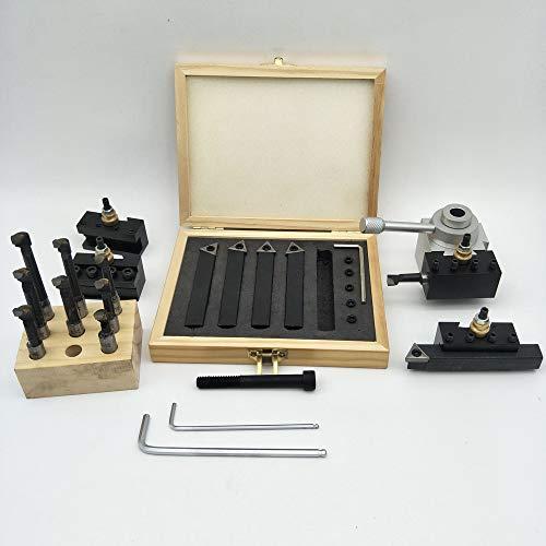 Fesjoy 19 Stücke Schnellwechsel Stahlhalter Kit, Drehstahlhalter Schnellwechselhalter Bohrstange Drehwerkzeug für CNC Mini Drehmaschine mit 9 stücke 3/8 zoll Bohrstange und 5 stücke Wendeplatte