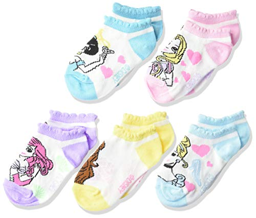 Disney girls Princess 5 Pack No Show Casual Sock, Pastel Assorted Big Face, Shoe Size 4-8 US