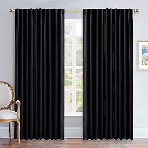 NICETOWN Black Out Curtain Panels for Bedroom - (Black Color) W70 x L84, 1 Pair, Thermal Insulated Blackout Draperies Window Treatment