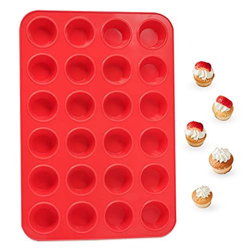 katbite Silikon Mini Muffinform 24er, Rot Muffinblech 34 x 23 cm, Klein Wiederverwendbar Cupcake Backform BPA Frei