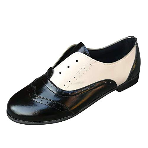 MYMYG Pumps Kurzschaft Frauen runde Zehe Flache Schuhe Leder Booties Slip-On quadratische Ferse einzelne Schuhe Kontrastfarbe Einfarbige Ankle Booties Kurz Stiefeletten Low Stack Chelsea Stiefel