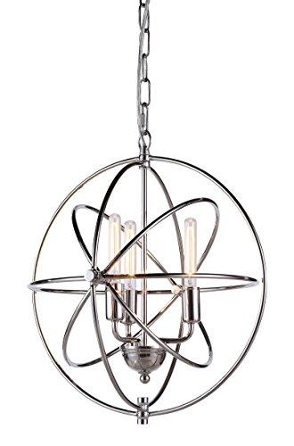 Elegant Lighting Vienna Collection 3-Light Pendant Lamp, Polished Nickel Finish