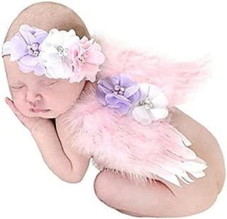 CIARAQ Feather Angel Wings Rhinestone Headband Set Baby Chiffon Flower Headband Hair Accessories Newborn Photo Prop Costume (Pink)