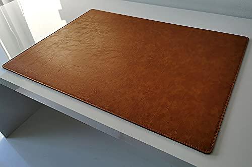 Vade de escritorio en piel Lora 70 x 50 color marrón mostaza
