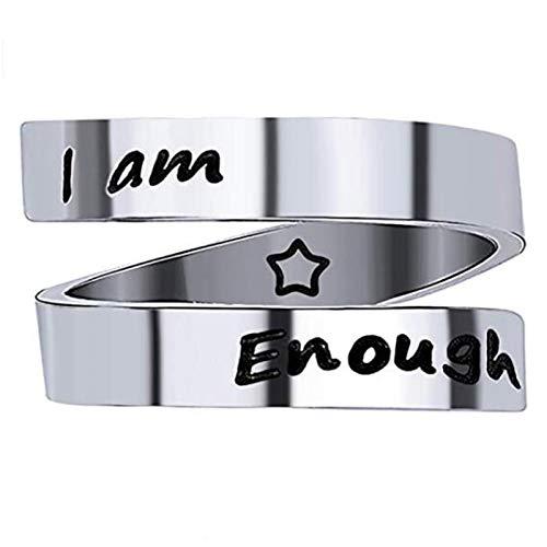 Aukmla - Anello in acciaio inox argentato con incisione I am Enough, regolabile, per donne e ragazze (argento)