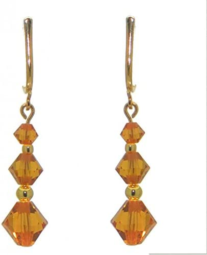 ATHALIE gold plated topaz yellow crystal clip on earrings