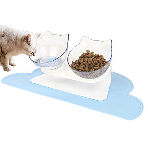 Katze Futternäpfe mit Futtermatten, Katzennäpfe Set, VIKEDI Katzennapf Futternapf Katze 15° Gekippte Fressnäpfe, Doppelter Hundenapf, rutschfeste Katzennäpfe für Futter Wasser mit Napfunterlage