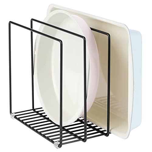 mDesign Organizer cucina in metallo – Porta pentole salvaspazio con 3 scomparti per padelle, taglieri o tegami – Scaffale da appoggio cucina per dispensa o pensili – nero