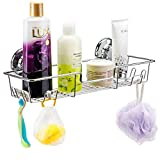 iPEGTOP L-4C Strong Suction Cup Adhesive Shower Caddy Bath Shelf Storage with 4 Side Hooks, Combo Organizer Basket for Shampoo, Conditioner, Soap, Razor Bathroom Accessories, Chrome