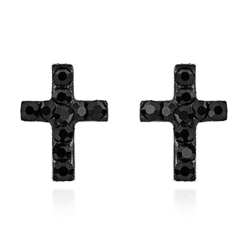 Mini Black Cubic Zirconia Cross .925 Sterling Silver Stud Earrings