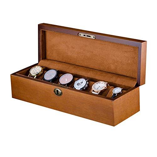NBVCX Inicio Accesorios Caja organizadora de Reloj de 6 Rejillas Caja de colección de Joyas Organizador de Caja Soporte de Madera con Cerradura
