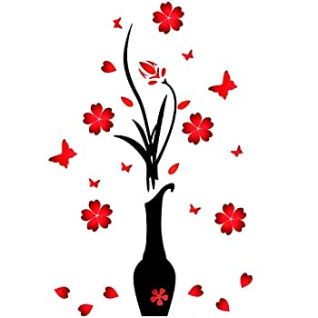 3D Vase Flower Wall Murals Acrylic Wall Stickers Originality Stickers DIY Flower and Vase Wall Decal Wall Decor for Living Room Bedroom Decorations TV Wall Background Sofa Backdrop Red  47 x 18 Inch