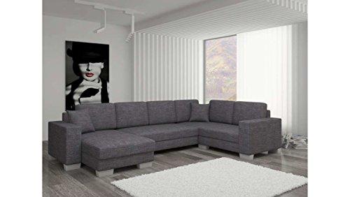 JUSThome Sofá canapé de esquina panorámica Marco Conjunto de salón con tejido estructurado (AxLxA): 145–206x 303x 86cm, gris, L'angle gauche face au canapé