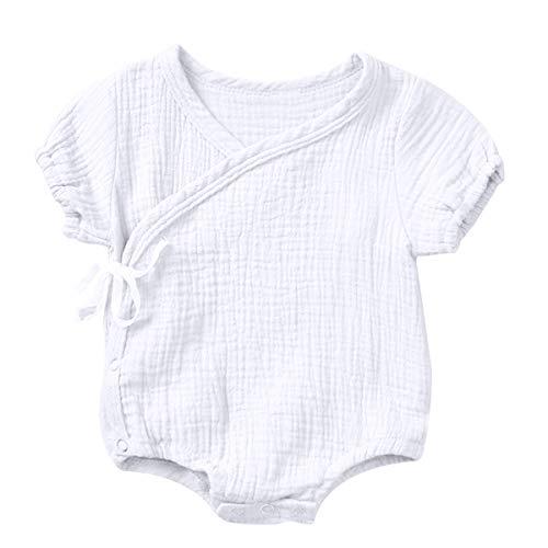 DaMohony Baby Jongens Meisjes Romper Kimono Katoen Linnen Korte Mouw Romper Pasgeboren Pure Kleur Jumpsuit voor 0-18 Maanden