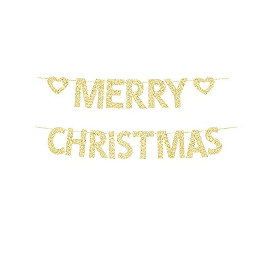 Merry Christmas Gold Gliter Paper Banner, Xmas Party Decors Christmas Eve Home Party Backdrops
