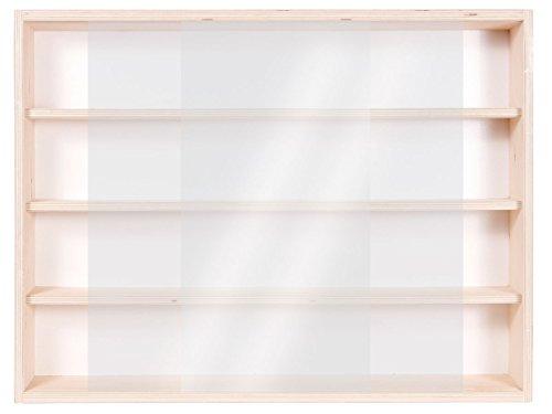 Alsino V60.4 Vetrina espositiva | 60 x 39 x 8,5 cm | in Legno di Betulla Non trattato | 4 Ripiani | 2 Ante plexiglass scorrevoli | Modellismo | Collezionismo | Scala N e H0