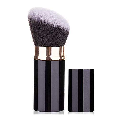 TYWZJ Pinceau de Maquillage 1 pièces pinceaux Professionnels rétractable Fard à Joues Poudre Fond de Teint Visage Yeux correcteur Kabuki Brosse Outils cosmétiques-Poudre Brosse Noir