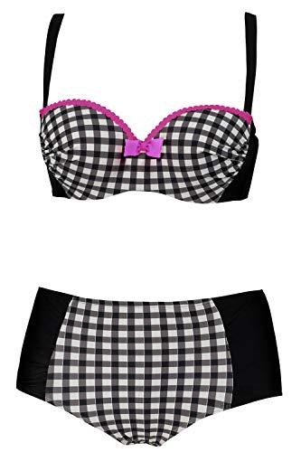 Ulla Popken Damen große Größen bis 54B, Bikini, Zweiteilig, Softcup-Oberteil, Vichy-Karo, High-Waist-Slip, schwarz/weiß 44C 720587 10-44C