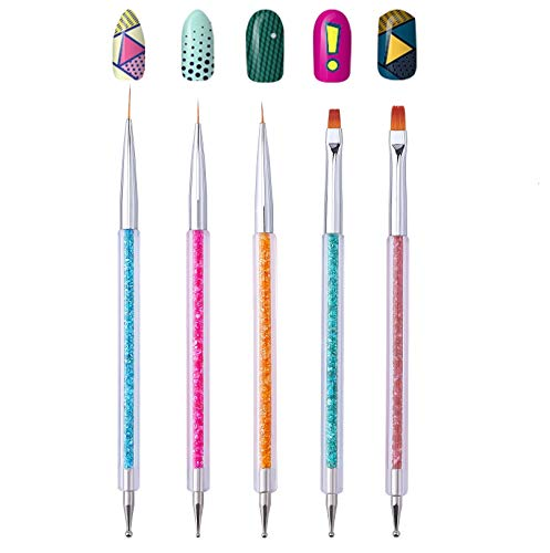 Cizoackle Nail Art Brushes - Double-Ended Brush and Dotting Tool Kit - Elegant Nail Pen Set with Shiny Handles - Easy To Use Professional Liner Tools 5 Pcs