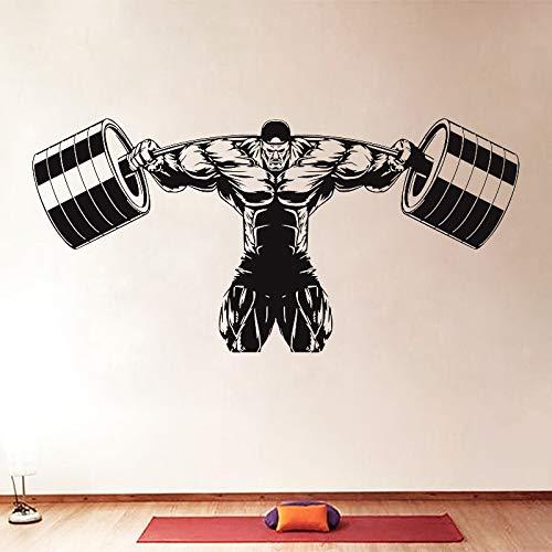 JXMN Fitness Barbell Pared calcomanía Fitness Culturismo Vinilo Pared Pegatina músculo Gimnasio Cartel Vinilo decoración de Gimnasio Pegatina Mural 116x56cm