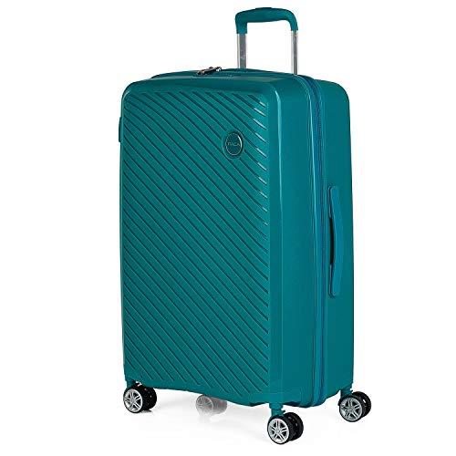 ITACA - Maleta de Viaje Mediana 4 Ruedas Trolley. 65 cm rígida de Polipropileno. práctica cómoda Ligera Marca. candado TSA. 760060, Color Turquesa