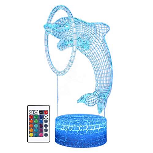 Lámpara de ilusión de luz nocturna 3D, 7 colores cambiantes, con control remoto, luz LED de noche, lámpara táctil inteligente para niños, cumpleaños, Navidad, día de San Valentín, regalos de delfines